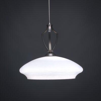 Zilo 1-Light Bowl Pendant Shade Color: White, Base Finish: Graphite