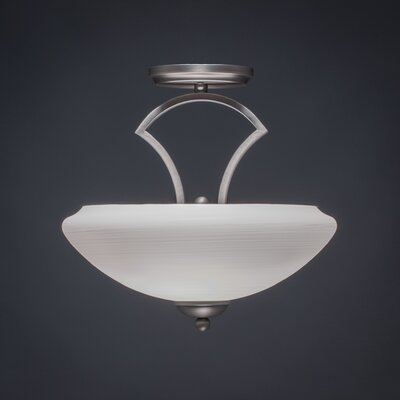 Zilo 2-Light Semi Flush Mount Shade Color: White, Finish: Graphite