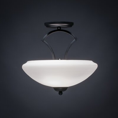 Zilo 2-Light Semi Flush Mount Shade Color: White, Finish: Matte Black