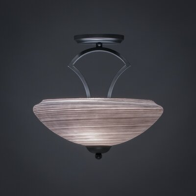 Zilo 2-Light Semi Flush Mount Finish: Matte Black, Shade Color: White