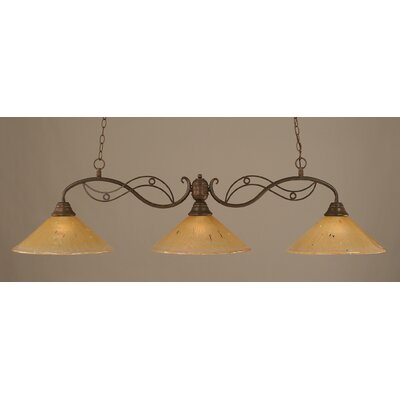 Jazz 3-Light Billiard Light Finish: Bronze, Shade Color: Amber