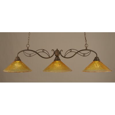 Jazz 3-Light Billiard Light Shade Color: Gold Champagne, Finish: Bronze