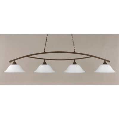 Blankenship 4-Light Billiard Light Color: Bronze, Shade Color: White