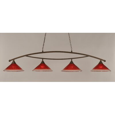Bow 4-Light Kitchen Island Pendant Finish: Bronze, Shade Color: Raspberry