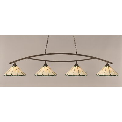 Austinburg 4-Light Billiard Light Shade Color: Honey and Hunter Green