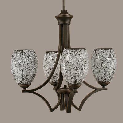 Zilo 4-Light Shaded Chandelier Finish: Dark Granite, Shade Color: Natural