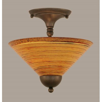 2-Light Semi Flush Mount Finish: Black Copper