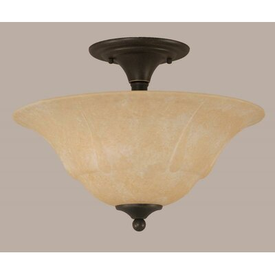 2-Light Semi Flush Mount Shade Color: Amber, Finish: Matte Black