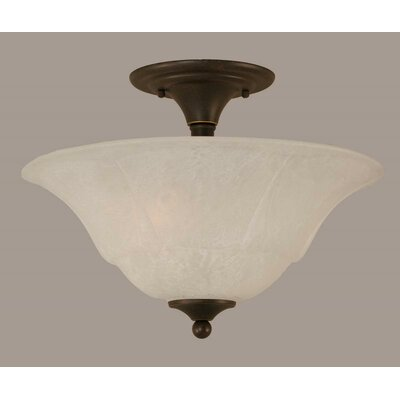 2-Light Semi Flush Mount Finish: Dark Granite, Shade Color: White