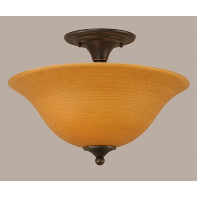 2-Light Semi Flush Mount Finish: Dark Granite, Shade Color: Cayenne