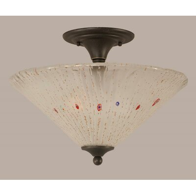 2-Light Semi Flush Mount Shade Color: Frosted, Finish: Dark Granite