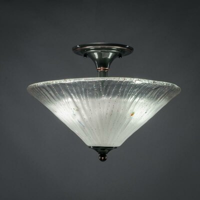 2-Light Semi Flush Mount Finish: Black Copper, Shade Color: Frosted Crystal