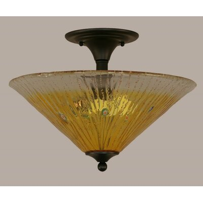 2-Light Semi Flush Mount Finish: Matte Black, Shade Color: Gold Champagne