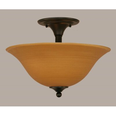 2-Light Semi Flush Mount Finish: Matte Black, Shade Color: Gray