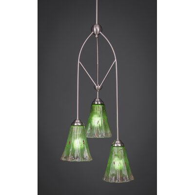 Contempo 3-Light Multi Mini Pendant With Hang Straight Swivel Finish: Brushed Nickel, Shade Color: Kiwi Green