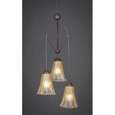 Contempo 3-Light Multi Mini Pendant With Hang Straight Swivel Shade Finish: Amber Crystal Glass