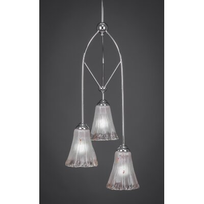 Contempo 3-Light Multi Mini Pendant With Hang Straight Swivel Finish: Brushed Nickel, Shade Color: Teal