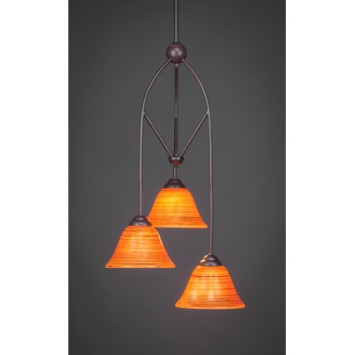 Contempo 3-Light Multi Mini Pendant With Hang Straight Swivel Shade Color: Orange