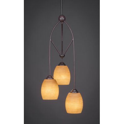Contempo 3-Light Multi Mini Pendant With Hang Straight Swivel Finish: Brushed Nickel, Shade Color: White