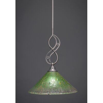 Jazz Mini Pendant With Hang Straight Swivel Finish: Brushed Nickel, Shade Color: Kiwi Green Crystal Glass, Size: 12 W