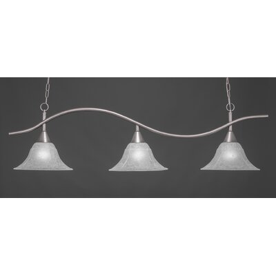 Swoop 3-Light Billiard Light Finish: Brushed Nickel, Shade Color: Amber