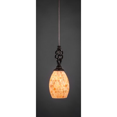 Elegant� Mini Pendant With Hang Straight Swivel Size: 5 W, Shade Color: Seashell Glass - Light