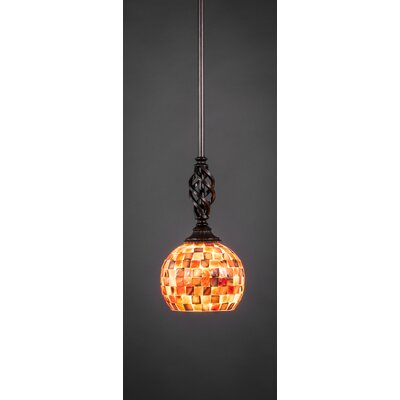 Weathers Mini Pendant With Hang Straight Swivel Shade Color: Seashell Glass - Dark, Size: 6 W