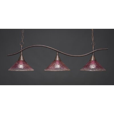 Swoop 3-Light Kitchen Island Pendant Shade Color: Wine