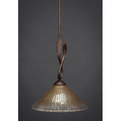 Leaf 1-Light Mini Pendant Finish: Bronze, Glass Color: 10 Amber