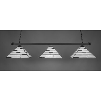 3-Light Square Kitchen Island Pendant Finish: Matte Black