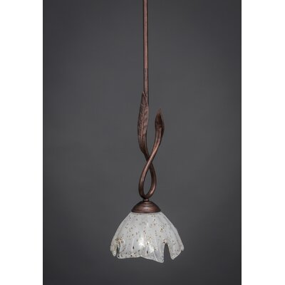 Leaf 1-Light Mini Pendant Finish: Bronze, Glass Color: Amber