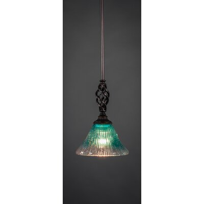 Weathers Mini Pendant With Hang Straight Swivel Shade Color: Teal Crystal Glass, Size: 7 W