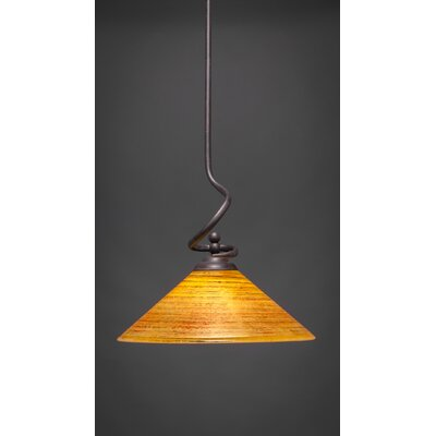 Capri Stem Pendant With Hang Straight Swivel Shade Color: Firre Saturn