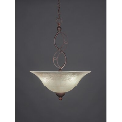 Jazz 3-Light Uplight Inverted Pendant Finish: Bronze, Shade Color: White Marble Glass
