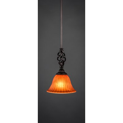Elegant� Mini Pendant With Hang Straight Swivel Size: 7 W, Shade Color: Tiger Glass