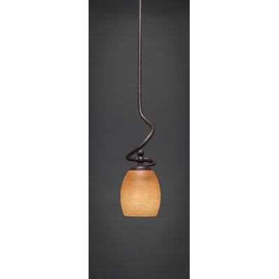 Capri Stem Mini Pendant With Hang Straight Swivel Shade Color: Cayenne Linen