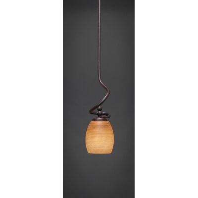 Capri Stem Mini Pendant With Hang Straight Swivel Shade Color: Cayenne Linen