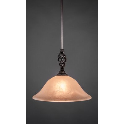 Weathers Mini Pendant With Hang Straight Swivel Shade Color: Amber Marble Glass, Size: 12 W