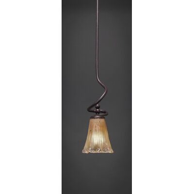 Capri Stem Mini Pendant With Hang Straight Swivel Shade Color: Amber