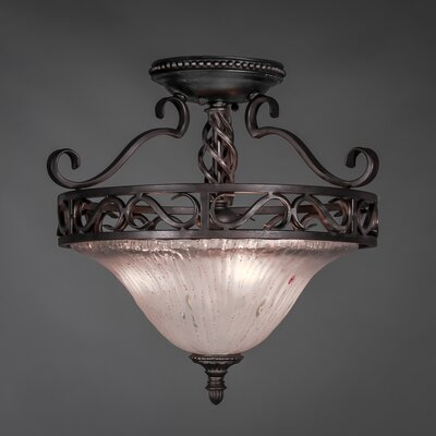 Elegant� 3 Bulb Semi Flush Mount Shade Color: Frosted Crystal