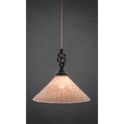Weathers Mini Pendant With Hang Straight Swivel Shade Color: Gold Ice Glass, Size: 12 W