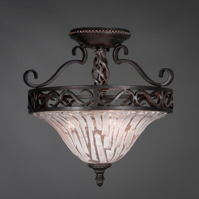 Elegant� 3 Bulb Semi Flush Mount Shade Color: Italian Ice