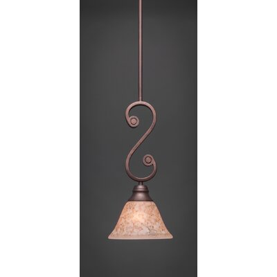 Babin Mini Pendant With Hang Straight Swivel Size: 7 W, Shade Color: Italian Marble Glass