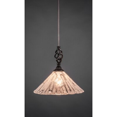 Weathers Mini Pendant With Hang Straight Swivel Shade Color: Italian Ice Glass, Size: 12 W