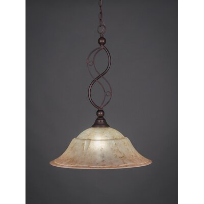 Jazz 1-Light Bowl Pendant Finish: Bronze, Shade Color: Italian Marble Glass, Size: 20 W