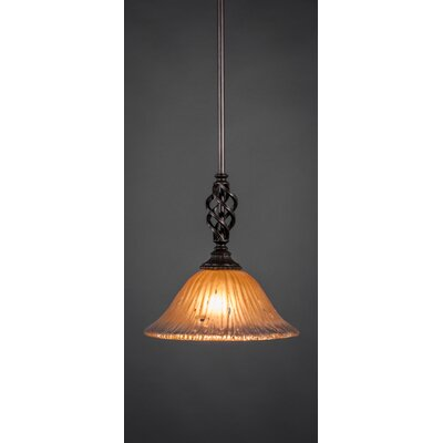 Weathers Mini Pendant With Hang Straight Swivel Shade Color: Amber Crystal Glass, Size: 10 W