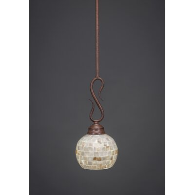 Swan 1-Light Mini Pendant Finish: Bronze, Shade Color: Amber Marble Glass, Size: 6 W
