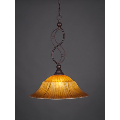 Jazz 1-Light Bowl Pendant Finish: Bronze, Shade Color: White Alabaster Swirl Glass, Size: 20 W