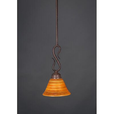 Swan 1-Light Mini Pendant Finish: Bronze, Shade Color: Italian Marble Glass, Size: 7 W