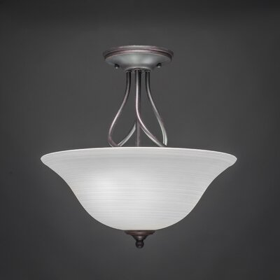 Capri 3-Light Semi-Flush Mount Shade Color: White Linen
